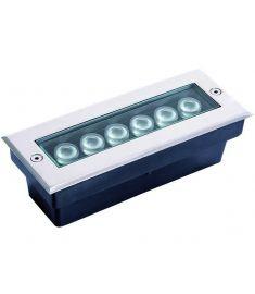 Viokef LOTUS kültéri beépíthető lámpa, szögletes, 20x6x8cm, LED, 6W, ezüst/átlátszó, 4187100